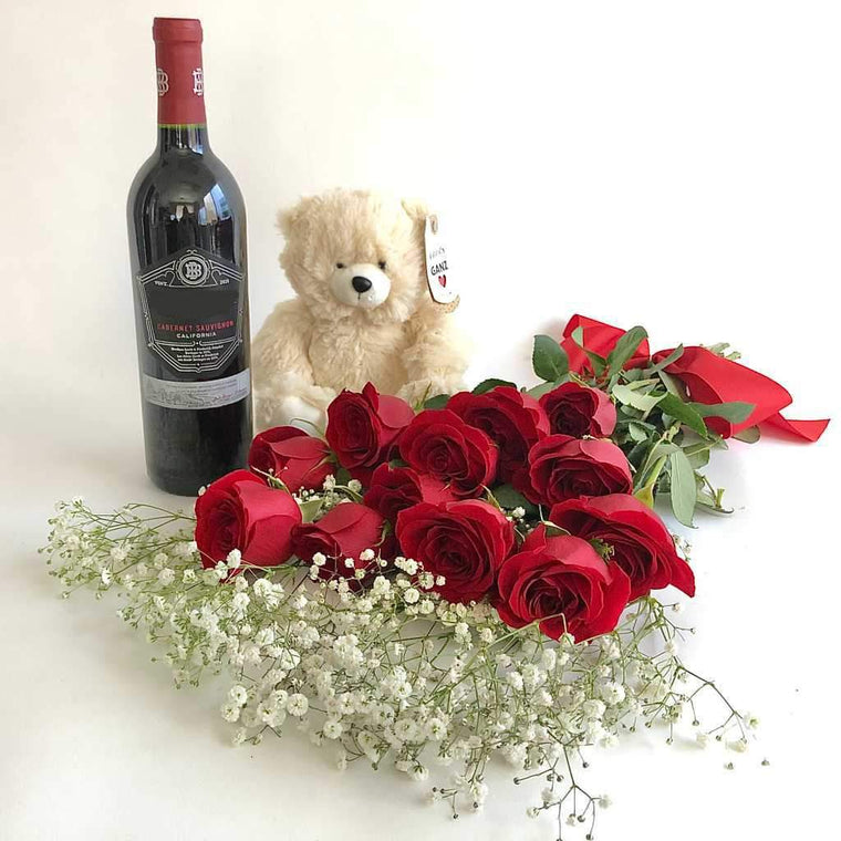 Beringer Cabernet Sauvignon, bear plush and red roses