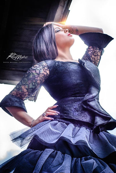 """Black Magic"" Peplum Gown"