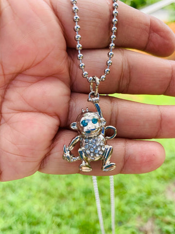 Rhinestone Monkey Necklace