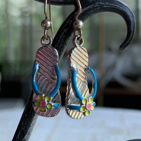 Blue Strap Flip Flop Earrings