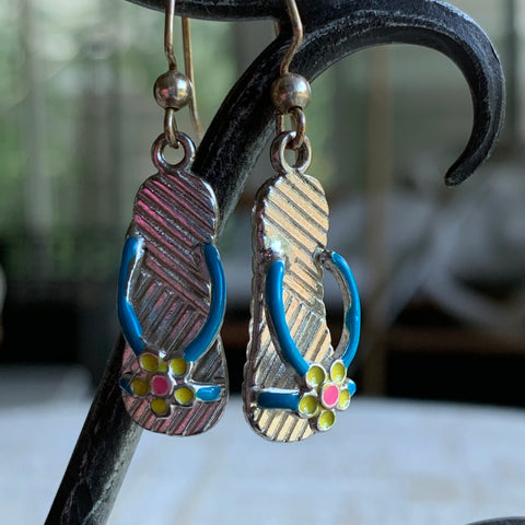 Flip Flops Earrings, Blue Strap