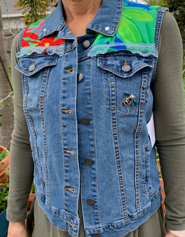 59 Upcycled Denim Vest, Bumble bee