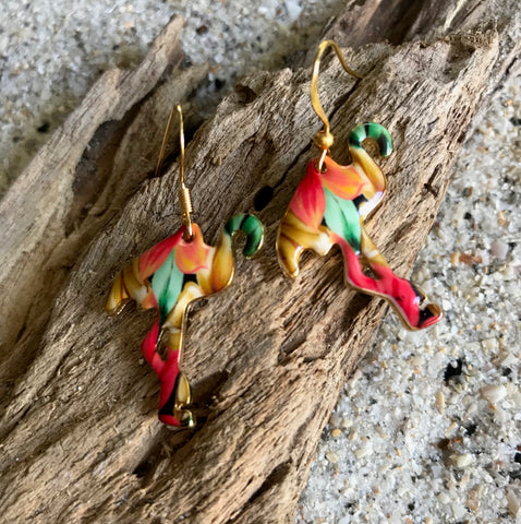 Flamingo Earrings, tropical