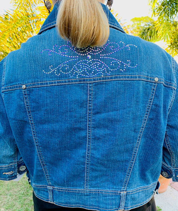 50 Upcycled Denim Jackets, Crystal Flowers