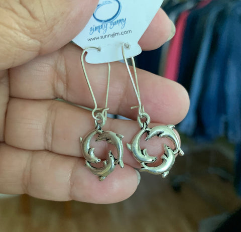 Dolphin Circle Earrings