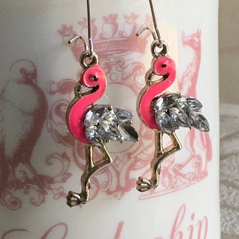 Flamingo Earrings, Crystal Rhinestones