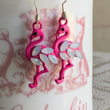 Flamingo Earrings, Opaque Rhinestones