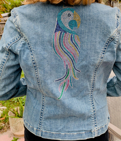 Denim Jacket, Rhinestone Parrot