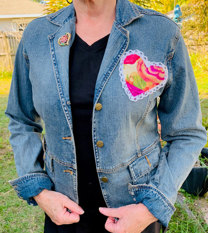 Denim Jacket, Tropical Hearts