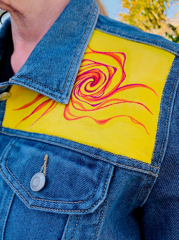 04 Upcycled Denim Jacket, Red Hibiscus