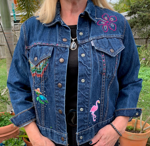 Denim Jacket, Sea Turtle & Hibiscus