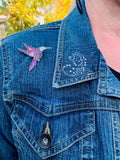 Denim Jacket, Hummingbird Pin