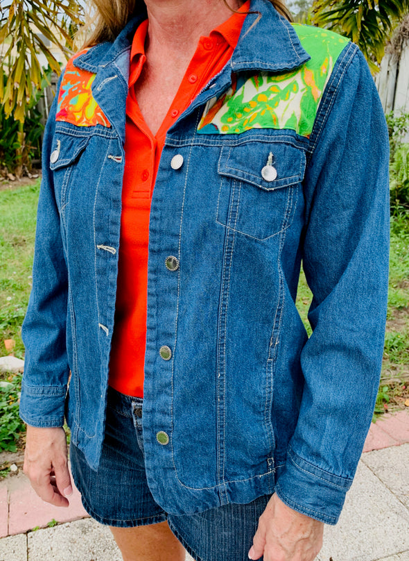 30 Upcycled Denim Jacket, Green Jams
