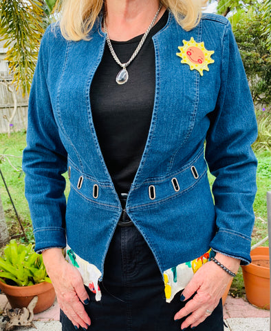 42 Upcycled Denim Jacket, Pineapple