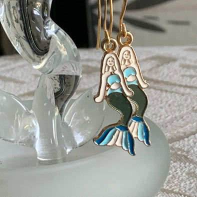 Mermaid Earrings Enamel