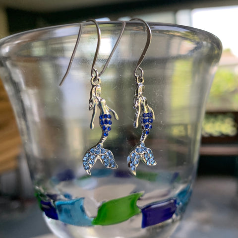 Mermaid Earrings, Blue Rhinestone