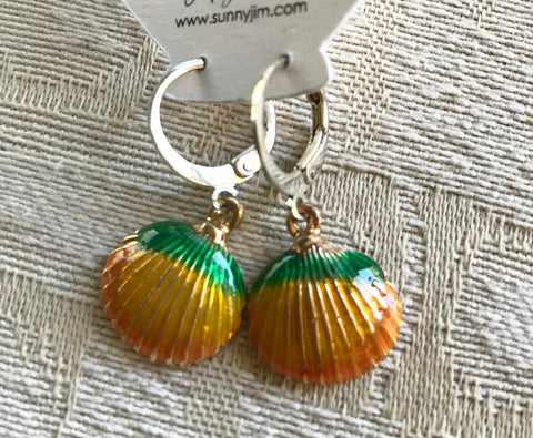 Orange Scallop Earrings