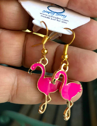Flamingo Earrings, Enamel Lg