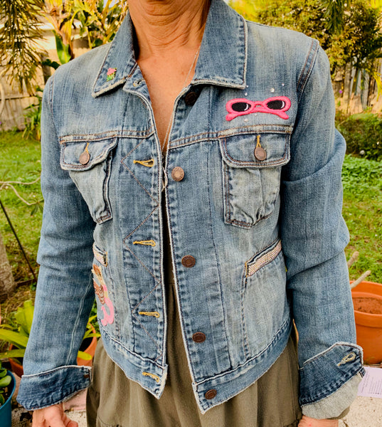 Denim Jacket, Pink Sunglasses