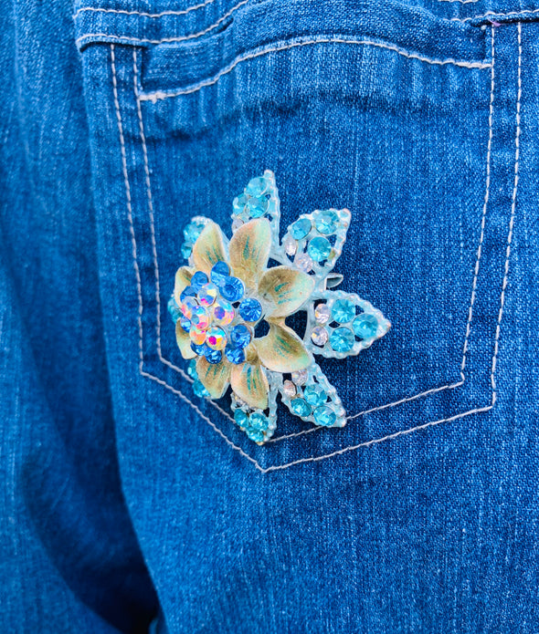 19 Upcycled Denim Jacket, Blue Flowers