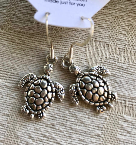Sea Turtle Earrings, Silvertone