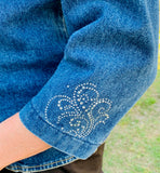 Denim Jacket, Silver Swirls
