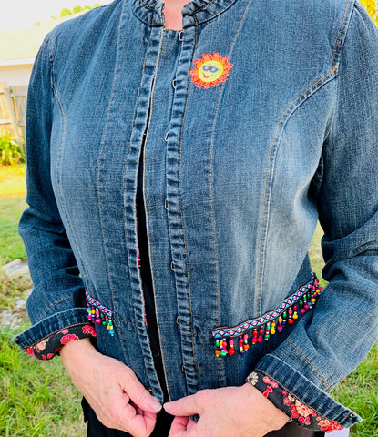 Denim Jacket, Sun & Fringe