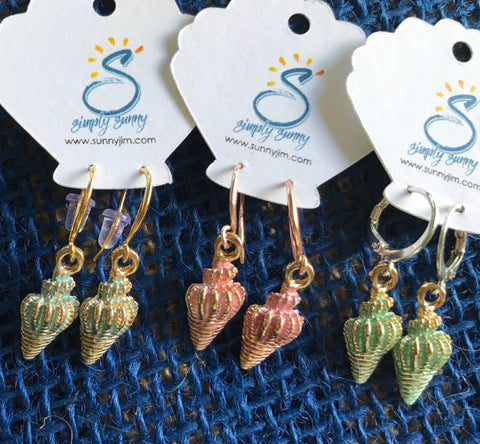 Triton Shell Earrings, 3D enamel