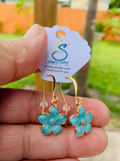 Aqua Flower Earrings