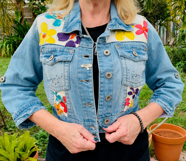 Denim Jacket, Cropped Flowers 2