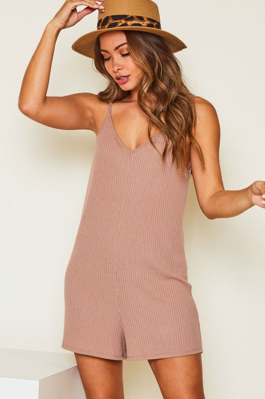 Rib Knit Romper in Mocha