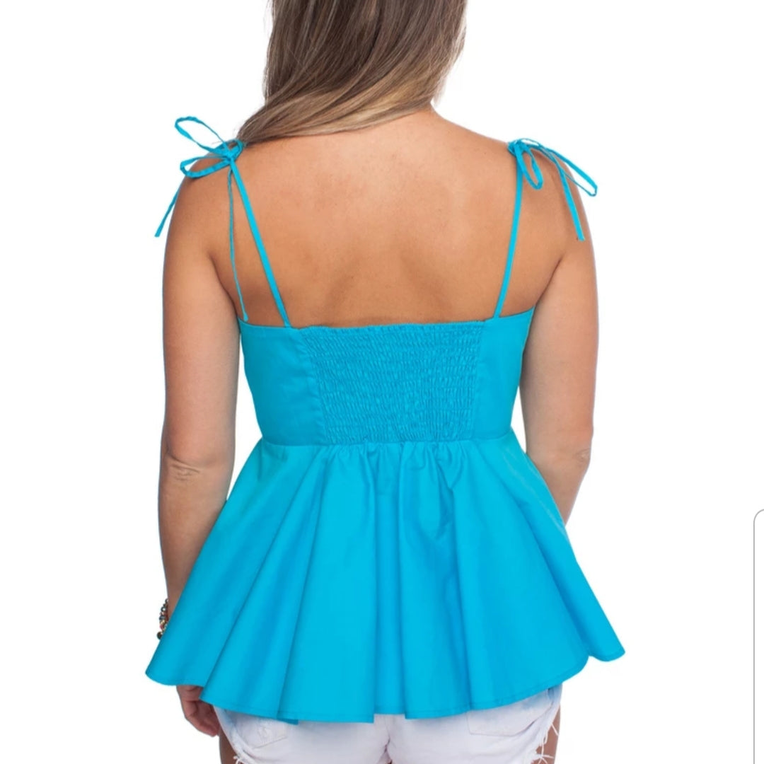 Flamenco Top with Tie Front - Aqua