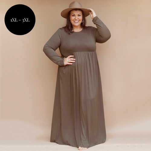 Madeline Maxi Dress in Olive - {Curvy}