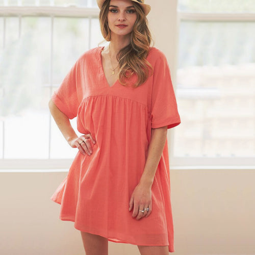 Coral Babydoll Dress