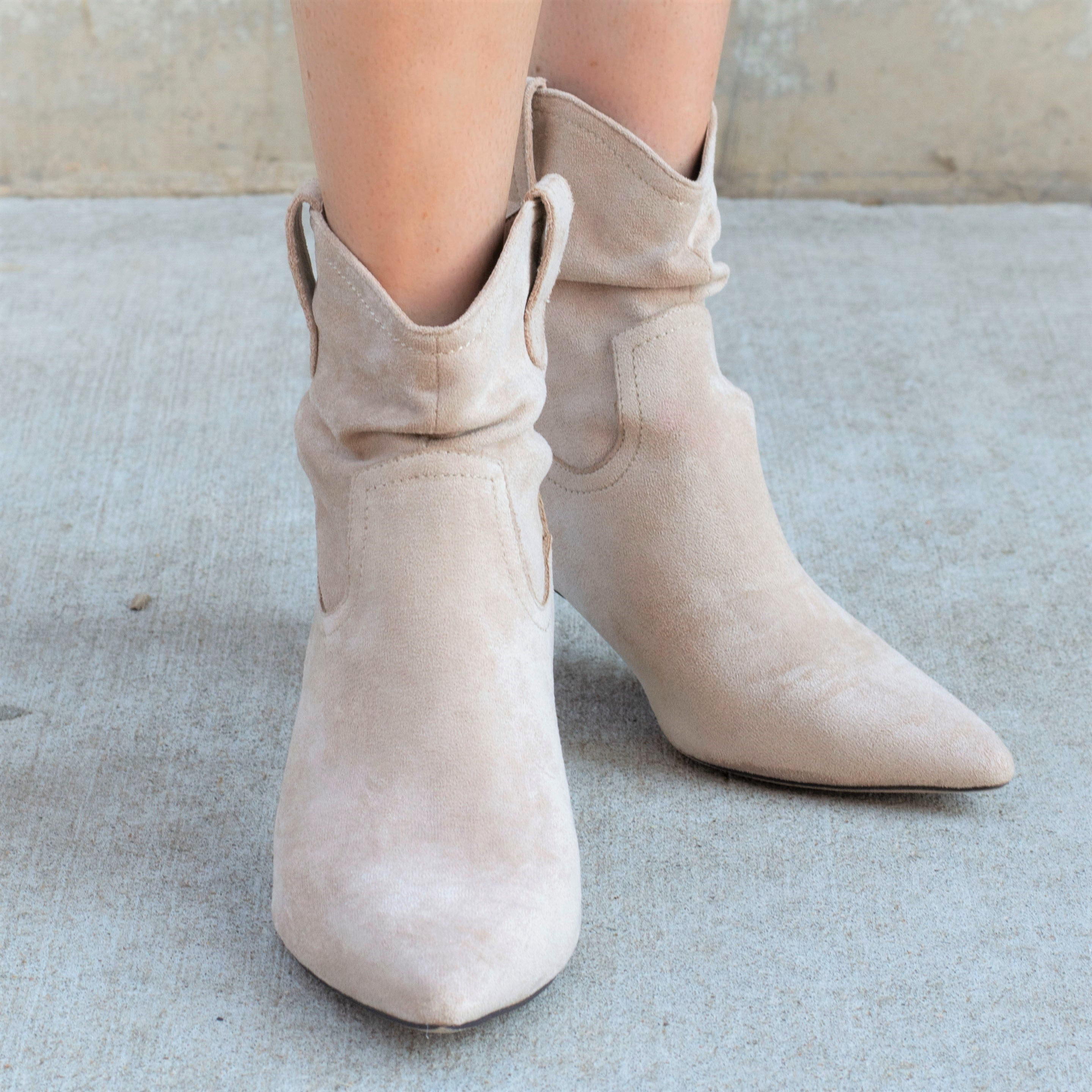 Taupe Kitten Heel Booties
