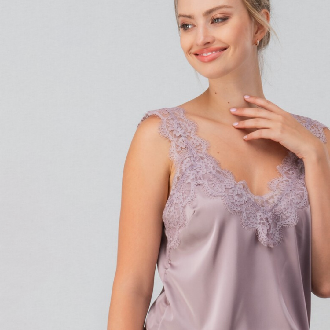 Camisole Top with Lace Trim - Lavender