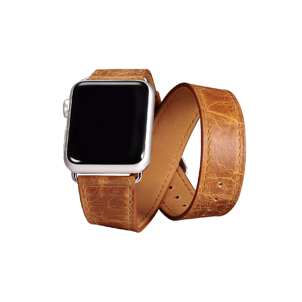 Orange Trinity Leather Apple Watch Band - By Dominic  - 1