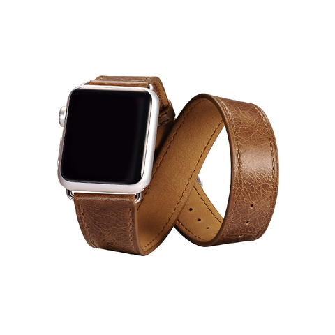 Brown Trinity Leather Apple Watch Band - By Dominic  - 1