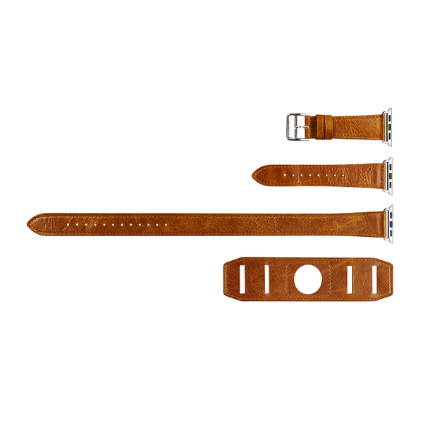 Orange Trinity Leather Apple Watch Band - By Dominic  - 3