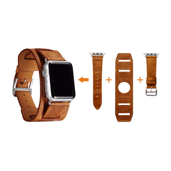 Brown Trinity Leather Apple Watch Band - By Dominic  - 4