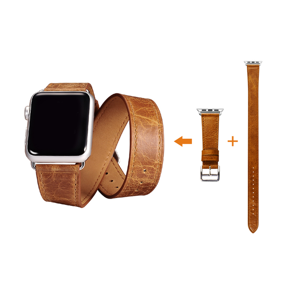 Orange Trinity Leather Apple Watch Band - By Dominic  - 5