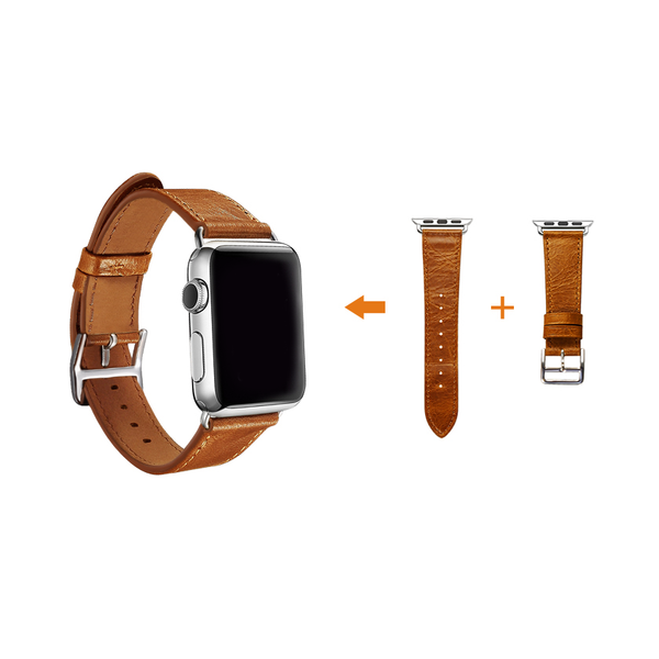 Orange Trinity Leather Apple Watch Band - By Dominic  - 6