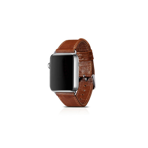 Vintage Brown Leather Apple Watch Band - By Dominic  - 1