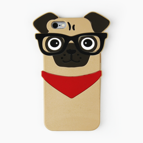 Hipster Pug Silicone iPhone Case - By Dominic  - 1