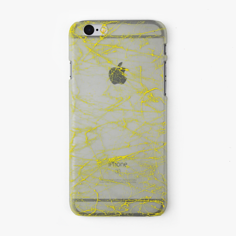 Yellow Splatter Glow in the Dark iPhone Case - By Dominic  - 1
