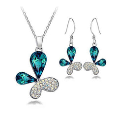 Butterfly Crystal Jewelry Sets Necklace Earring-Rama Deals