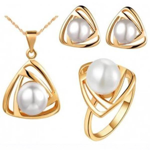 Gold Platinum Plated Pearl Jewelry Set - Necklace / Earrings / Ring-Rama Deals