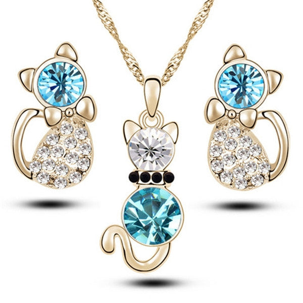 Clearance Romantic Engagement Gold Plated Cute Cat Jewelry Set- Necklace and Earrings-Rama Deals