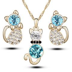 Romantic Engagement Gold Plated Cute Cat Jewelry Set- Necklace and Earrings-Rama Deals
