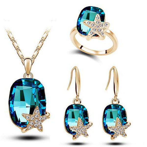 Clearance Five-Pointed star Jewelry Set-Necklace,Earrings, Rings-Rama Deals